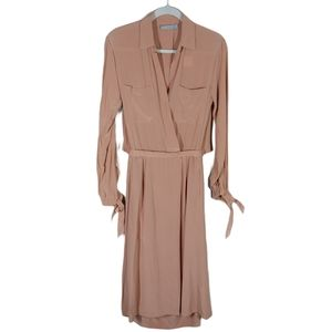 Vince Blush Silk Faux Wrap Open Back Shirt Dress